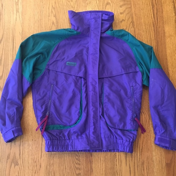 VINTAGE COLUMBIA SKI JACKET PURPLE AND GREEN